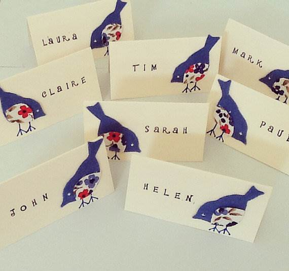 Etsy bird applique illustration name place cards via the National Vintage Wedding Fair blog