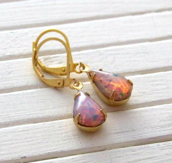Etsy fire opal earrings for National Vintage Wedding Fair by Kate Beavis