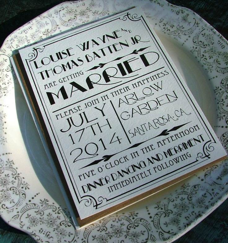 1920S Style Wedding Invitations with perfect invitations example