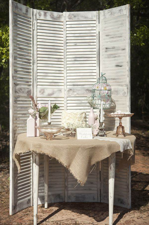vintage wehite shutters at a wedding on The National Vintage Wedding fair