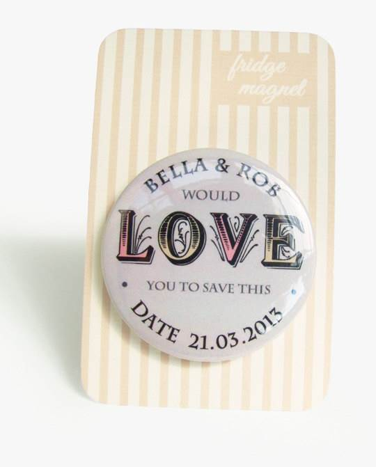 Etsy save the date cards - magnetic magnet cards via National Vintage Wedding Fair blog
