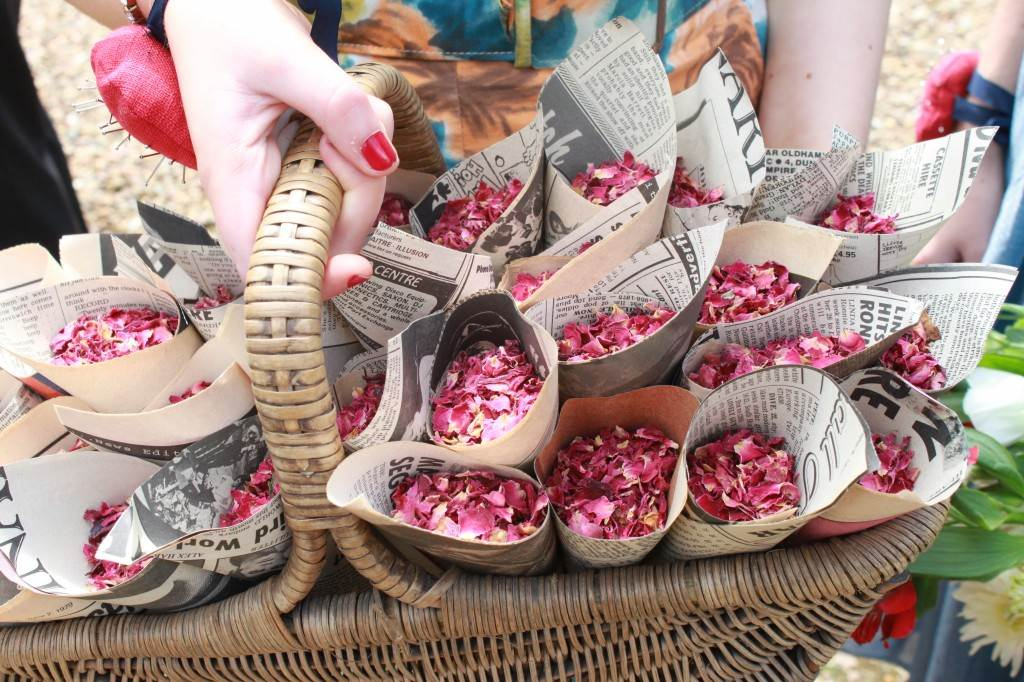 rose petal confetti by Kate Beavis for The National Vintage Wedding Fair