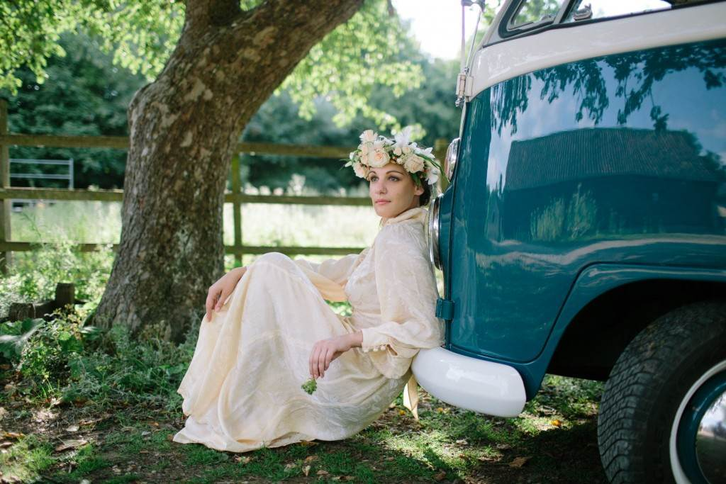 1970s vintage wedding dress and VW camper vanby the National Vintage Wedding Fair