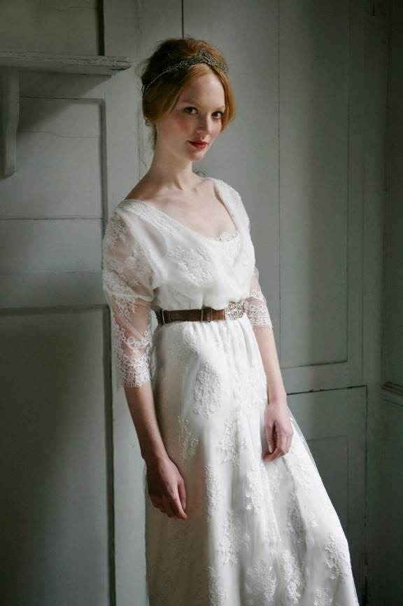 Sally Lacock Vintage Inspired Wedding Dress and Cherished Edwardian hair accessory via the National Vintage Wedding Fair