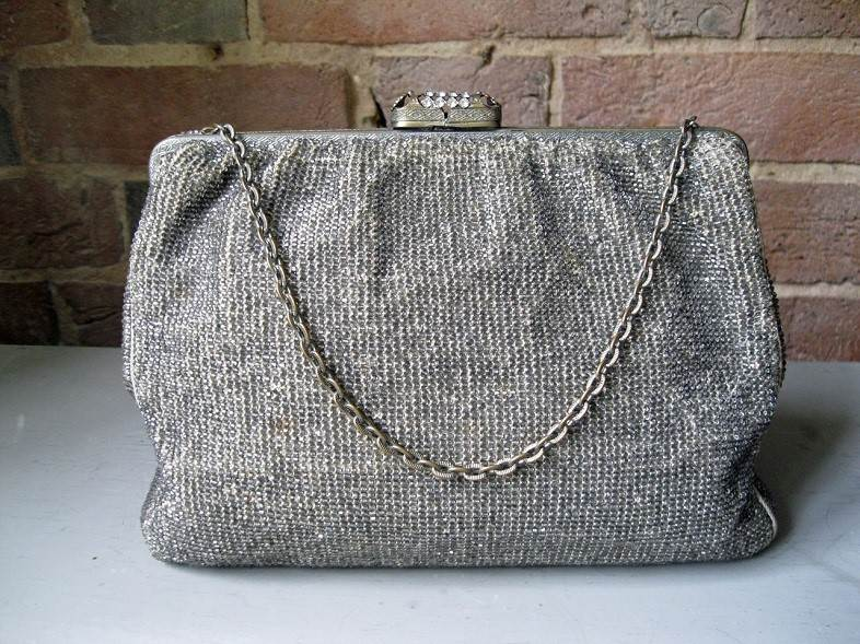 Beautiful French 1930s silver beadwork bag, from a selection of original vintage accessories from Cherished.