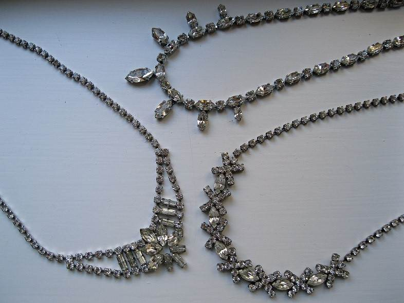 Vintage diamante necklaces, from a selection at Cherished.