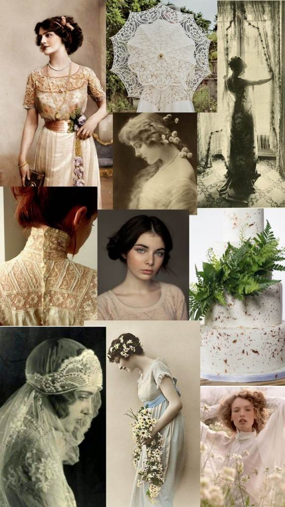Edwardian Vintage Wedding Moodboard Inspiration from the National Vintage Wedding Fair