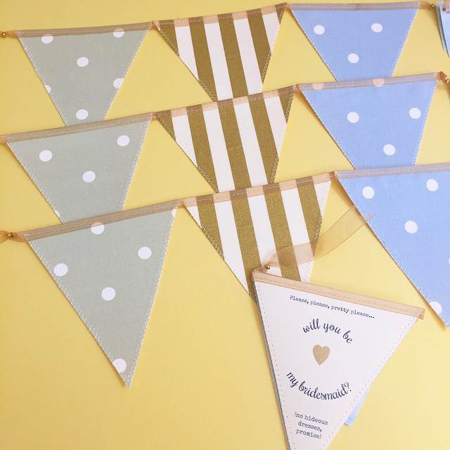 Postmans Knock Bunting Wedding Stationery as featuring in the Unique Bride Box by the National Vintage Wedding fair