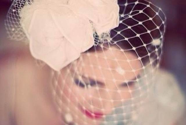 NICOLA BIRDCAGE VEIL by Silver Sixpence in her shoe as featured on The National Vintage Wedding Fair blog