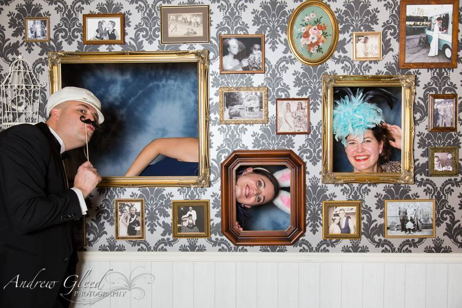 Andrew Gleed vintage photo wall as featured in the Unique Bride Club on the National Vintage Wedding Fair blog