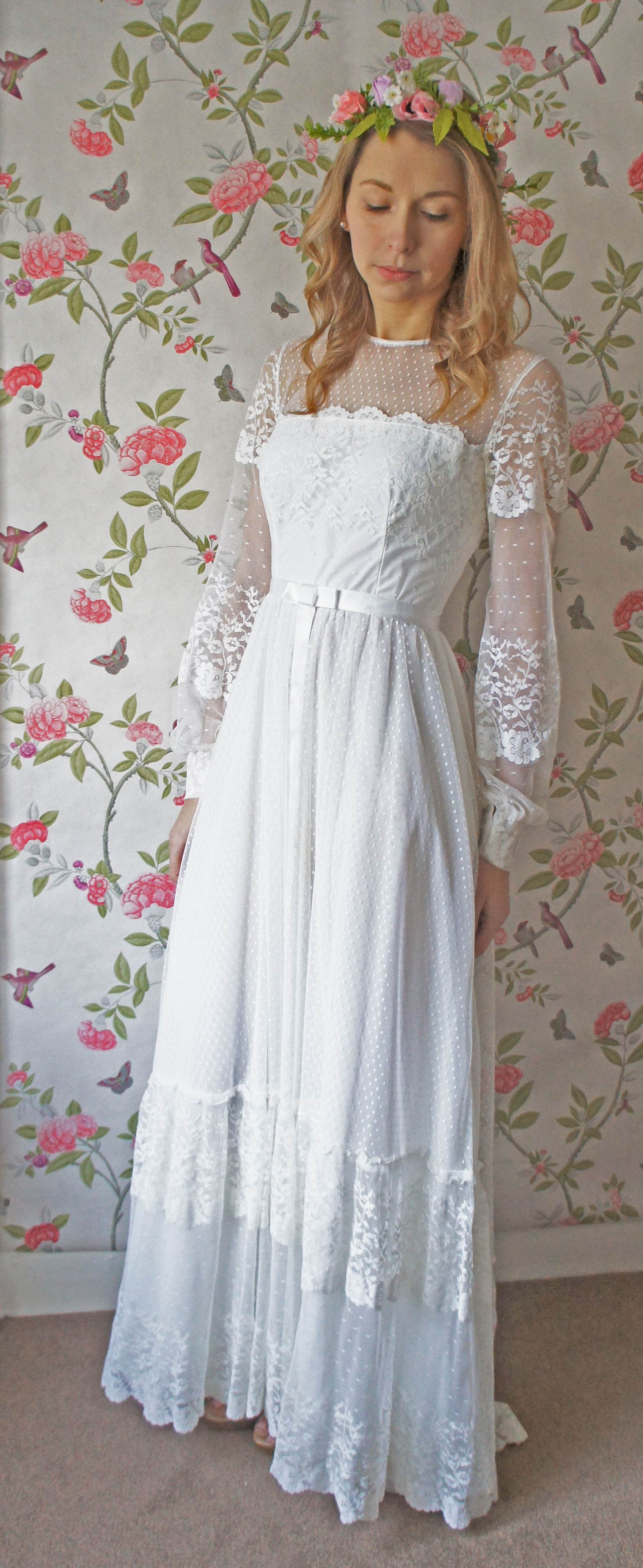 1970s vintage wedding dress from Sincerely Bea Bridal as featured on The National Vintage Wedding Fair blog