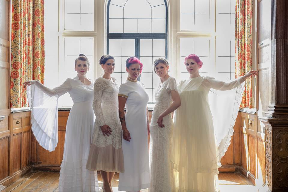 National Vintage Wedding Fair - Sue Kwiatkowska models wearing vintage and vintage inspired wedding dresses at The National Vintage Wedding Fair's Greenwich London event