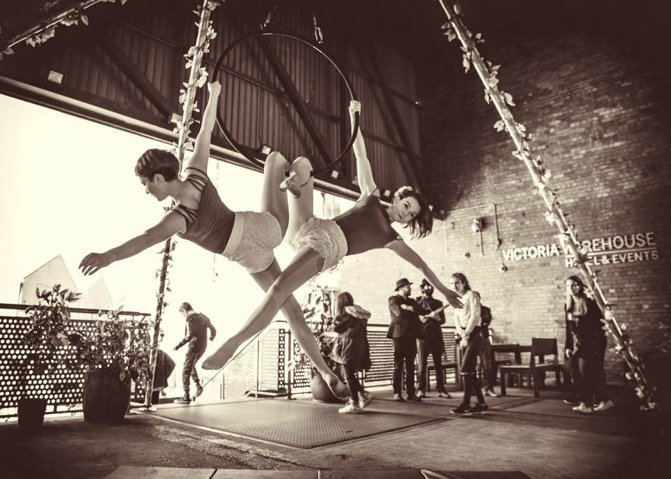Folk In The Air trapeze act at Manchester's National Vintage Wedding Fair