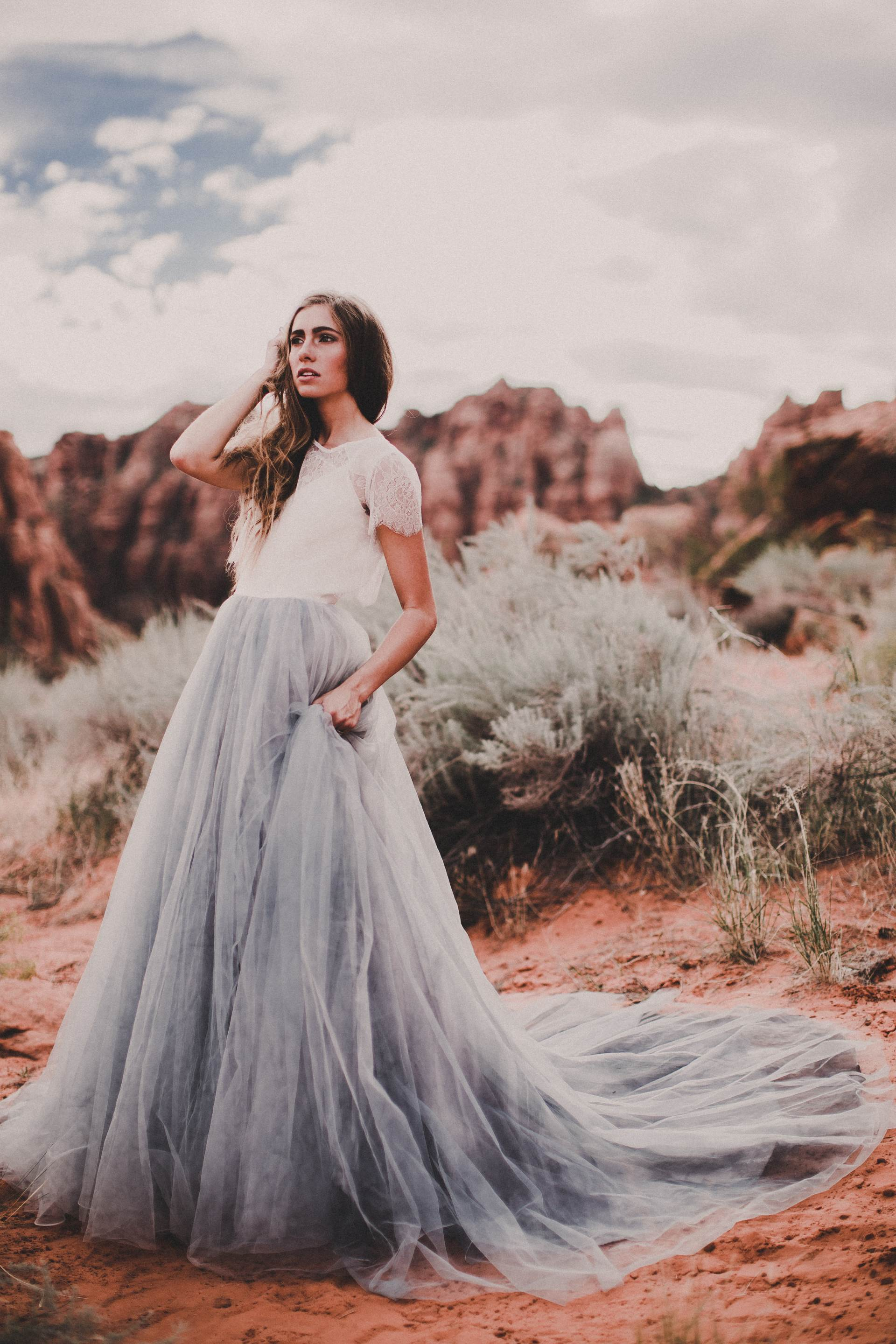 Mae by Chantel Lauren, blue wedding dress sold through Rock The Frock bridal boutique