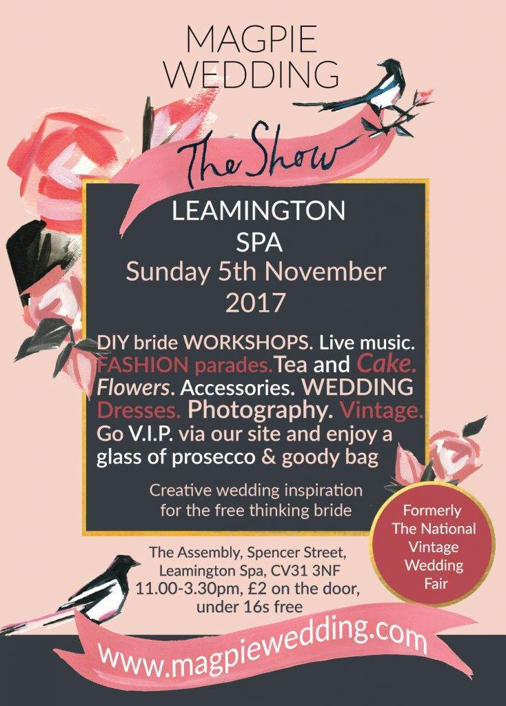 Leamington Spa October 2017 flyer for Magpie Wedding
