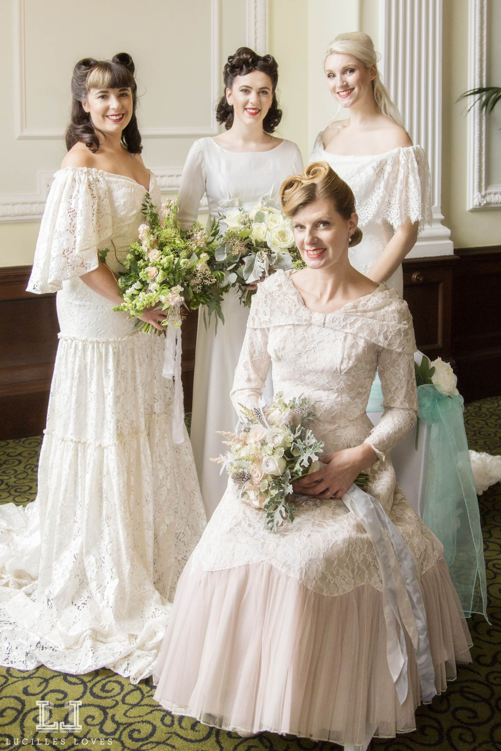 Vintage wedding dresses at Harrogate taken by Lucille Loves at The National Vintage Wedding Fair