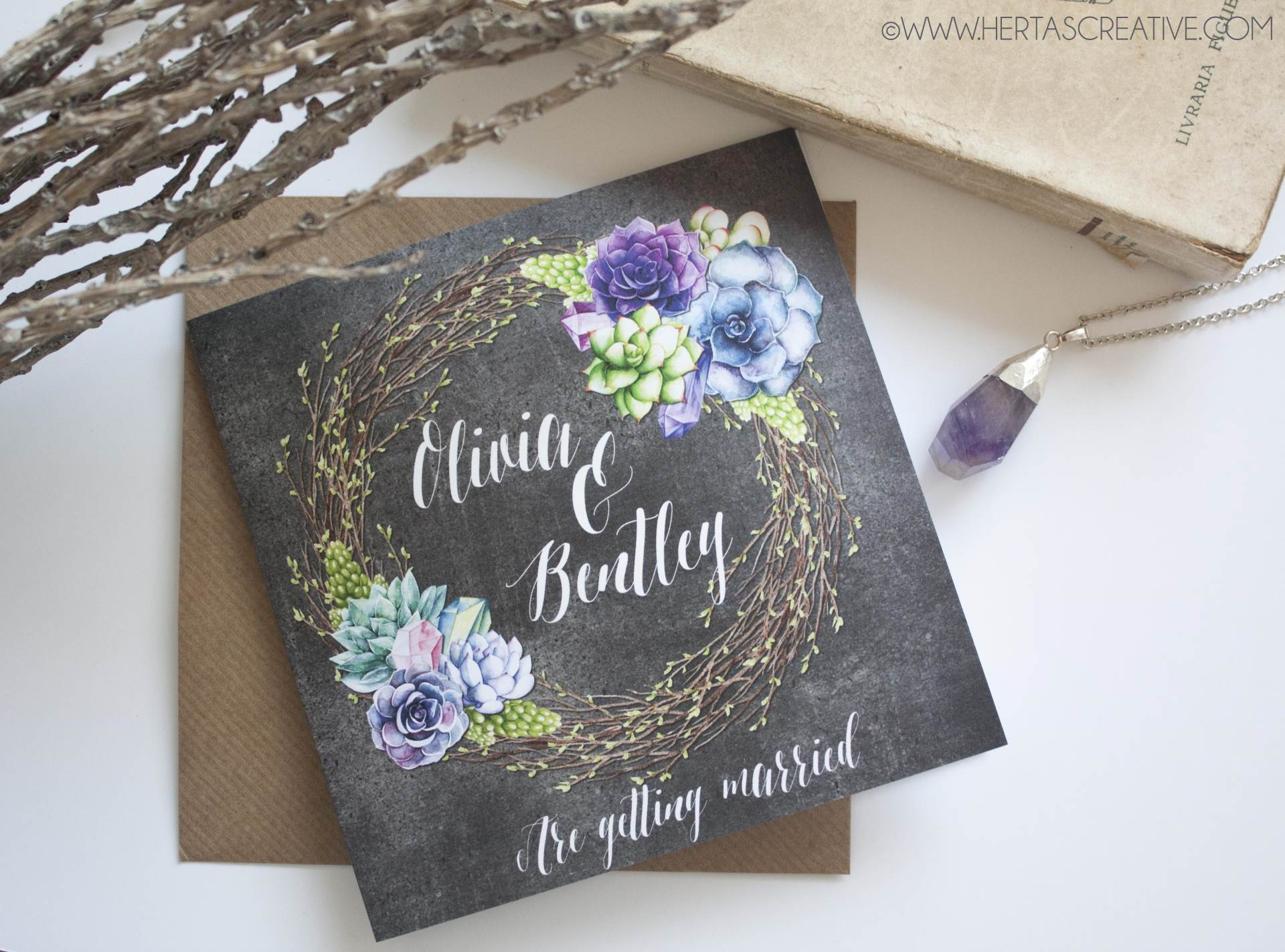 5 wedding stationery themes you will love by Hertas Creative succulents