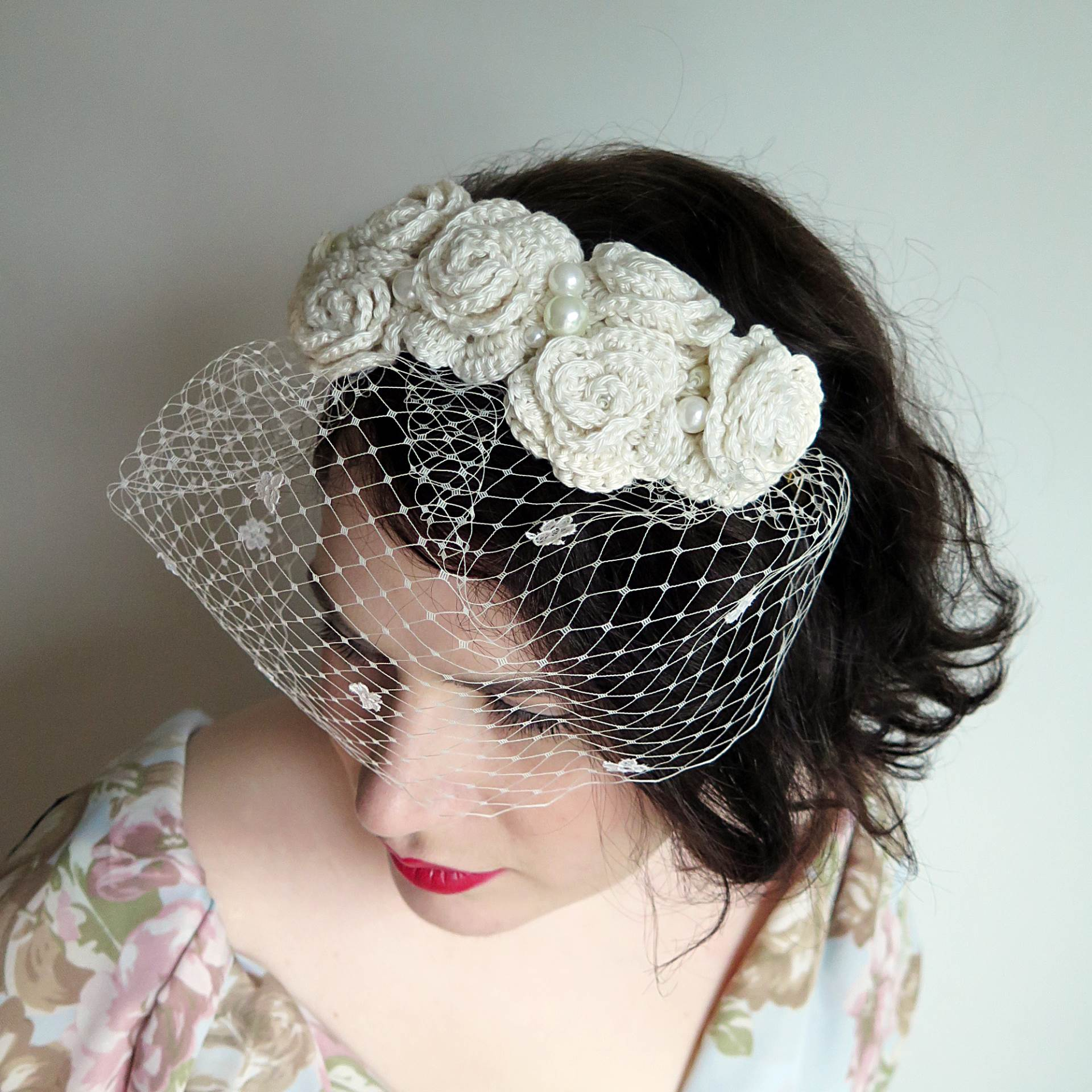 To Be Adorned Flower Crown Veil Ivory Cr Faye Perriam Reed Magpie