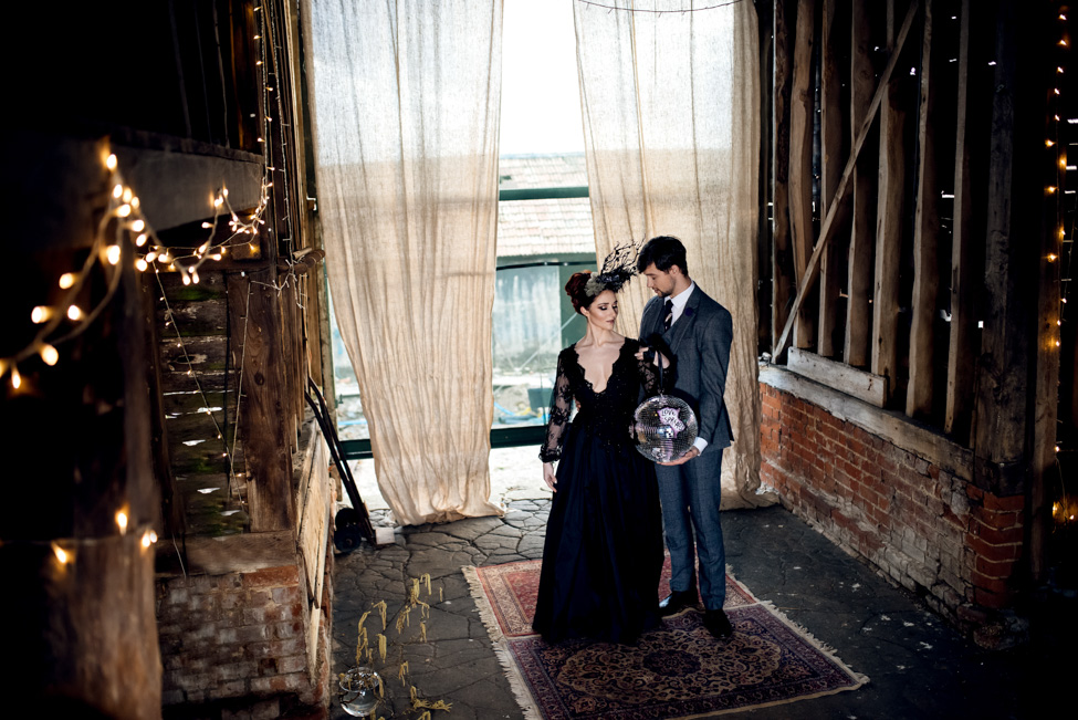 Alternative Wedding styling with dark and dreamy spring vibes at Lodge Farm