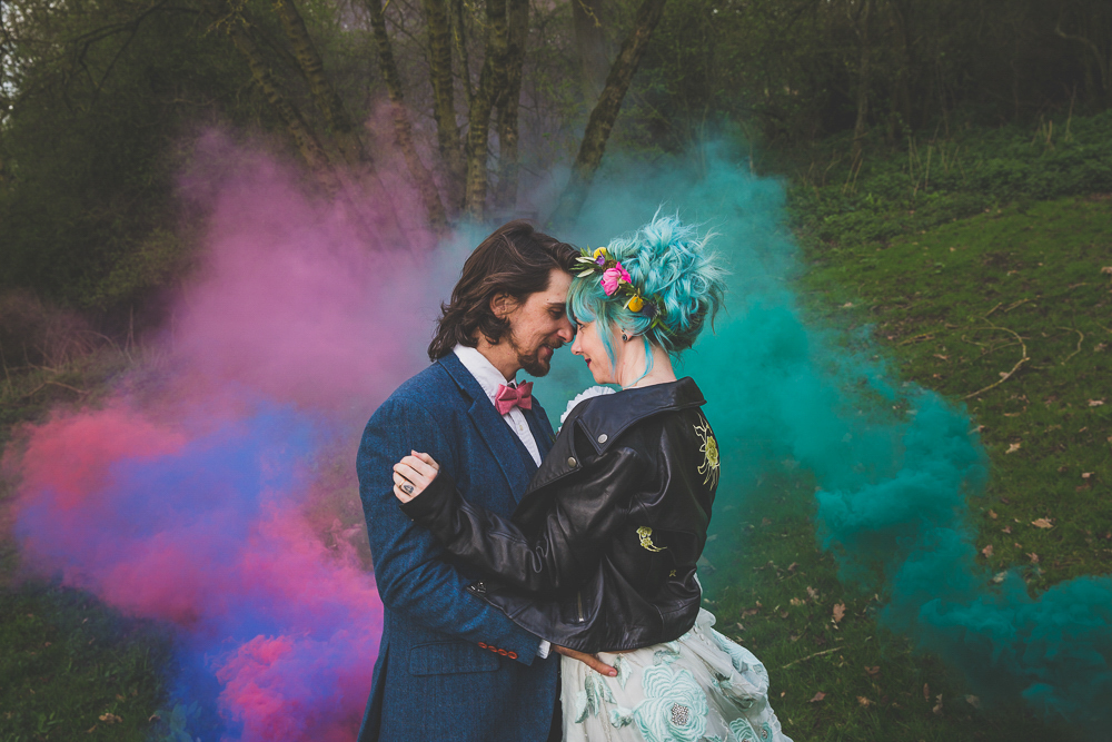Rainbow Woodland Wedding with Hand Painted Leather Jacket and Doc Martin Bridal Shoes