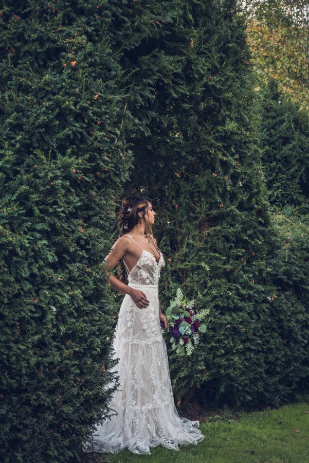 Country Wedding Inspiration with Rustic Florals and a Ruffle Tiered Dress