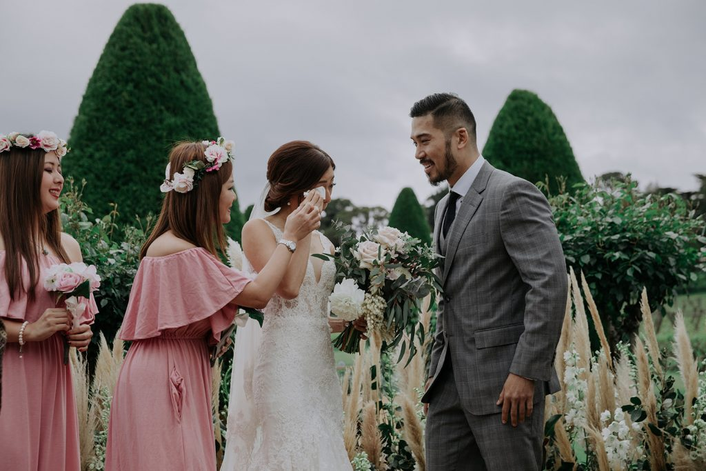 Australian Outdoor Wedding with Bespoke Dress and Rustic Luxe Styling