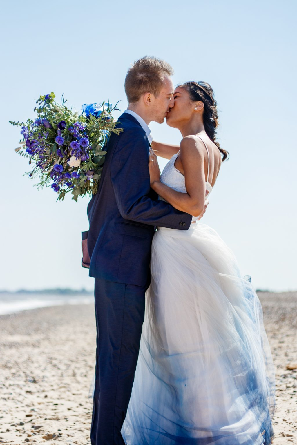 Boho Beach Wedding with Ombre Dress and Blue Wedding Cake