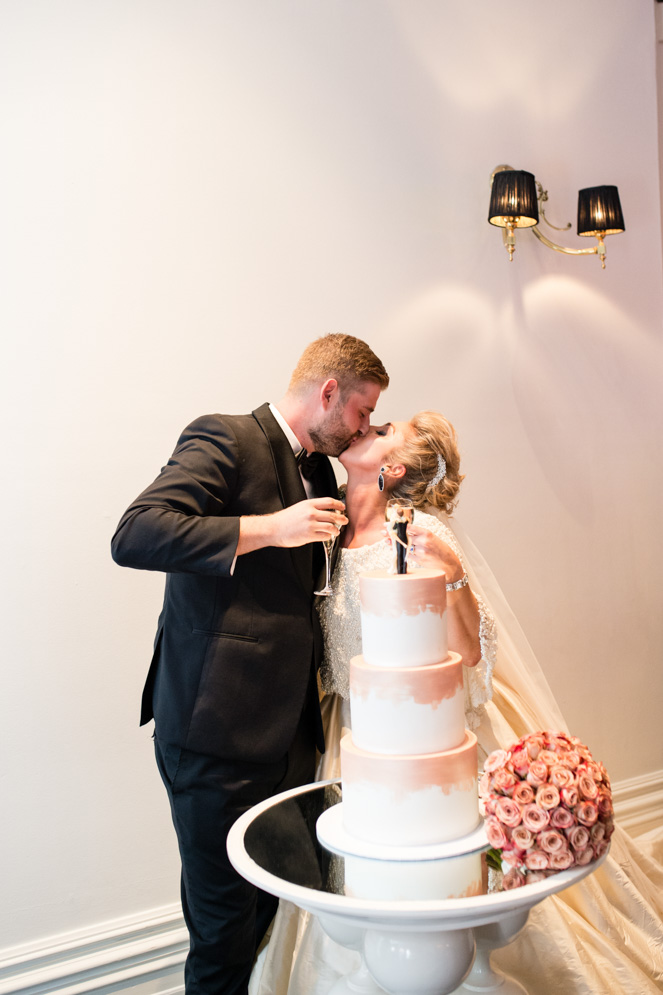 Classic Fairytale Wedding with Bespoke Dress and Rose Gold Touches cake